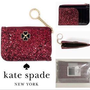 🆕KATE SPADE ♠️ - RED GLITTER CARD HOLDER WALLET